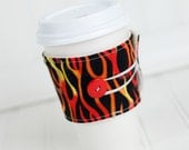 Flames Coffee Sleeve Red and Orange Flame, Gift Idea, Coffee Cozy Cuff, Men's Gift