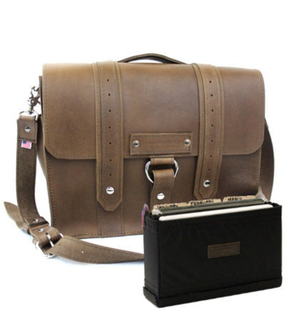 """15"""" Brown Belmar Voyager Leather Briefcase - Made in America"""