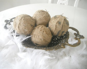 burlap decor balls cottage display holiday decor display natural decor room decor rag balls cottage chic decor charm french country