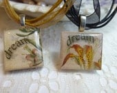 Dream Scrabble Tile Pendant Necklace on Ribbon Necklace