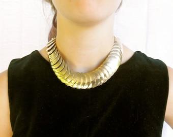 Goddess Gold Choker, Disco Articulating Necklace, Gypsy Glam, 80s Diva Boho, Vogue Glamour Girl, Jackpot Jen Vintage