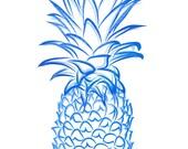 Navy Blue Pineapple Giclee