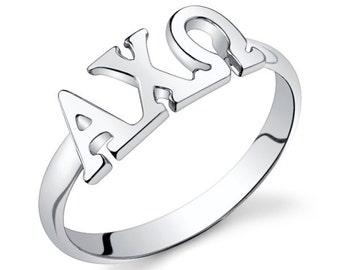 Sterling Silver Alpha Chi Omega Letter Ring