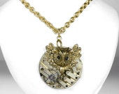 Steampunk Jewelry Necklace Vintage SEGMENTED Pocket Watch OWL Wedding Anniversary Mothers Mom Anniversary - Jewelry by Steampunk Boutique