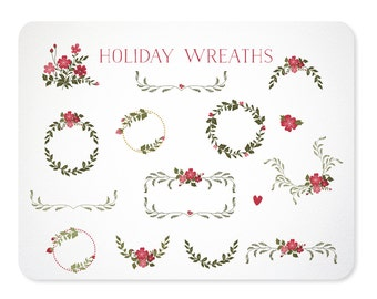 Holiday Laurel Wreaths & Frames for Christmas - Hand Drawn  - Instant Download