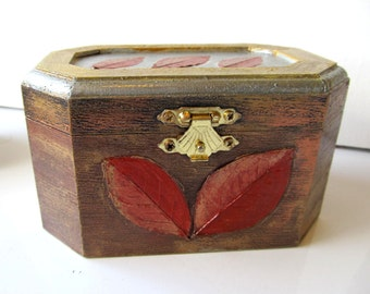 Jewelry Box - Handpainted wooden box in red, bronze and gold patina with decoupaged leaves