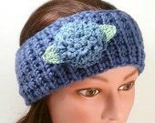 Grey-Blue Headband, Ear Warmer with a detachable flower hair clip (barrette). Knitted headband. Crocheted flower.