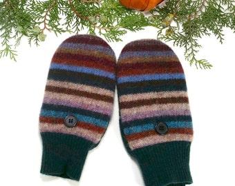 Warm, Wool Mittens for Older Kids. Fleece lining. Earth tones. Slender fit.