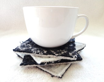 Wool Coasters Navy BLUE & GRAY Coaster Set with Hearts Eco-Friendly Wool Felt Recycled Mug Rugs Blue Coasters Eco Home Gift for Knitter