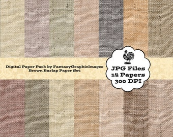 Burlap Digital Paper Pack Neutral Browns - 14 Coarse Rough Fabric Texture Papers - DIY Scrapbooking - Cards - Backgrounds Instant Download