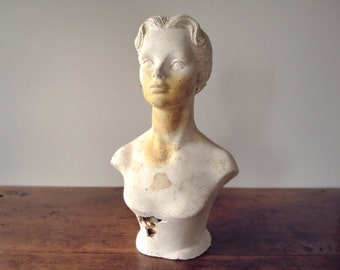Vintage plaster mannequin bust, woman's millinery head, 1950s style unpainted ladies' fashion store display, white, rusty orange, chippy