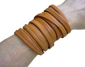 Leather Wrapping Bracelets in Burnt Honey Tan, Basic Collection, custom made to fit your wrist