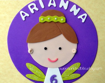 BRUNETTE FAIRY on purple disc Edible Cake Topper - CUSTOMIZABLE