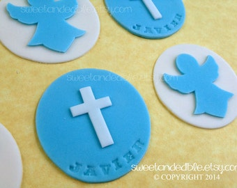 Set of 12 BAPTISM or CHRISTENING Edible cupcake toppers