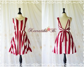 A Party V Backless Stripe Dress Cream Burgundy Dress Backless Dress Prom Party Dress Vintage Style Bridesmaid Dress Custom Made