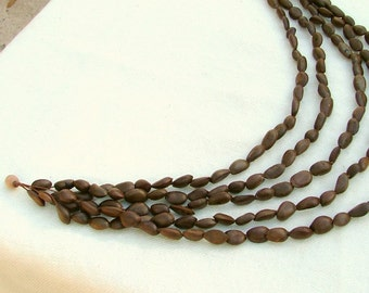 Natural seed necklace ,hand drilled seeds 5 strand necklace tribal vegan jewelry eco tribal necklace tagt team