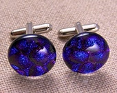 """Cuff Links Dichroic - Purple Violet Bubbles Texture - 3/4"""" 2cm - Cobalt Blue Reflections Fused Glass"""
