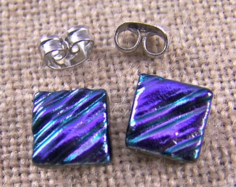 """Tiny Dichroic Post Stud Earrings - 1/4"""" 8mm - 10mm Violet Purple Amethyst Waves Ripples Fused Glass Studs Textured Square Striped Diagonal"""