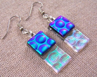 Dichroic Dangle Earrings - Emerald Green Teal with Clear  - Reverse Radium Bubbles Fused Glass- Surgical Steel French Wire or Clip On