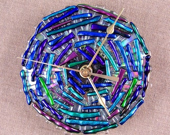 Mosaic Clock - Dichroic Glass Medallion - Blue Green Purple Cobalt Teal Violet Emerald Fused Stained Glass on CD - 5 Inches Round