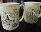 Pair of Mythical Unicorn Mugs