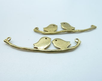 5pcs 11x44mm Brass Lovely Filigree Two Birds On Branch Conncector Link Charms Pendant c1086