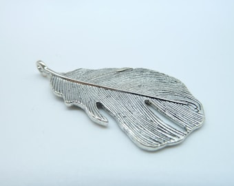5pcs 48x25mm Antique Silver Huge Feather Charm Pendant B196