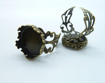 10pcs 16mm Antique Bronze Brass Cameo Cabochon Filigree Base Setting Rings C2160