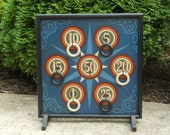 "19"", Ring Toss, Carnival Game, Wood, Rings, Hand Painted, Wooden, Folk Art, Primitive, Game Board, Game Boards, Board Games"