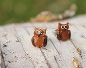 Miniature Animal Earrings... Little Brown Owls