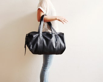 Black Leather Should Bag | Classic Black Handbag | Travel Leather Bag | Night Black...ready to ship