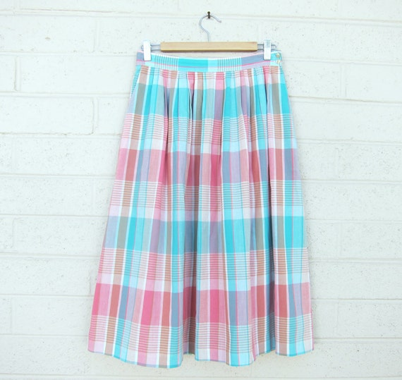 vintage pastel plaid midi length skirt pink by colortheoryshop