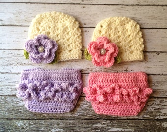 Twin Ashlee Beanies in Ecru, Baby Pink, Purple and Green with Matching Diaper Covers Available in Newborn to 24 Month Size- MADE TO ORDER
