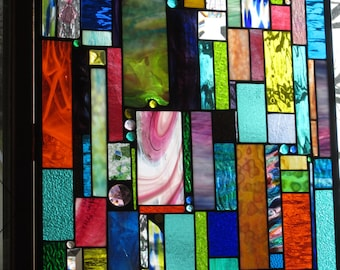 Stained Glass Panel Window Curtain Abstract OOAK