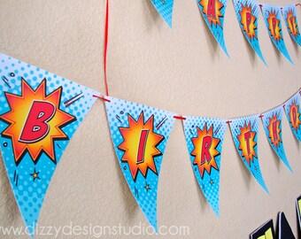 Super Hero Happy Birthday Banner
