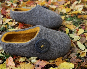 Hand Made Felted Slippers for Everyone. Natural Gray with Mustard Yellow inside and Lackey Button.