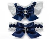 Wedding garters - bridal garters - navy blue and white garters with silver anchors - navy blue garter set - blue garters- anchor garters