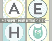 Mint & Yellow Owl Banner Letters - A-Z - Printable PDF