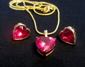 Vintage Avon Red Heart Stud Earrings and Necklace Pendant, Valentines Day
