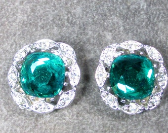 """MINT Vintage Sarah Coventry Earrings """"Kathleen"""" 1964 Aqua Green Main Stone Surrounded with Clear Rhinestones"""