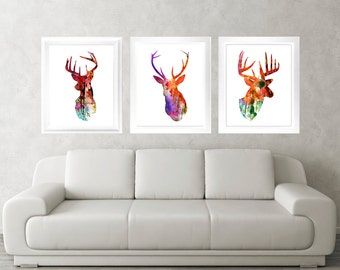 Antler, Stag, Deer Print Set of 3 - Minimalist Art - Watercolor Poster Silhouette Art - Print - Wall Decor, Home Decor, Gifts