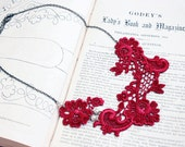 lace collar necklace -ALISHA- scarlet red burgundy wine - ivory - blush - pearls - wedding - bridal