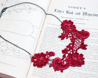 lace collar necklace -ALISHA- scarlet red burgundy wine - ivory - blush - pearls - wedding - bridal