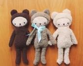 Teddy Bear Stuffed Animal Plushie in Simple Kawaii Style 3 Color Choices