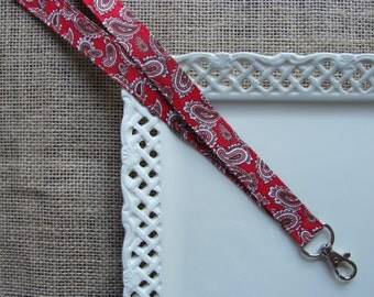 Fabric Lanyard ID - Pretty Paisley on Red