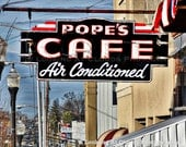diner art photo, Pope's Cafe neon sign, vintage diner art photography, retro kitchen decor, foodie gift, retro urban