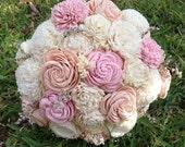 Handmade Natural Light Peach and Light Pink Balsa Wood Flower Wedding Bouquet---Sola Flower  Bridal Bouquet