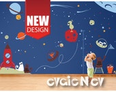 Space Cats Wall Decals - Space Wall Decals Stickers Theme with Aliens and Stars - PLOS030