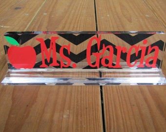 Personalized clear acrylic Teacher Desk Name Plate with CHEVRON print - 8 inch
