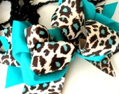 Girls Boutique Layered Hair Bow - Teal Leopard - Teal, Leopard Print, Back to School
